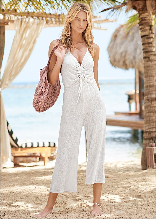 TIE FRONT JUMPER COVER-UP,TRIANGLE BIKINI TOP,SCOOP FRONT BIKINI BOTTOM,LOW RISE BIKINI BOTTOM,CIRCULAR STRAW TOTE BAG