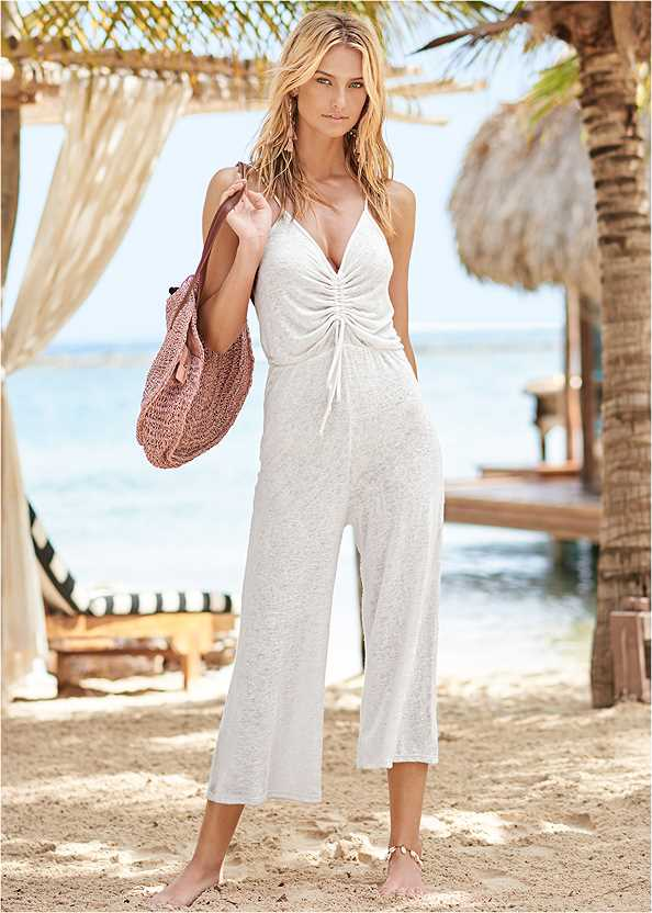 Tie Front Jumper Cover-Up,Triangle String Bikini Top,Scoop Front Classic Bikini Bottom ,Low Rise Classic Bikini Bottom