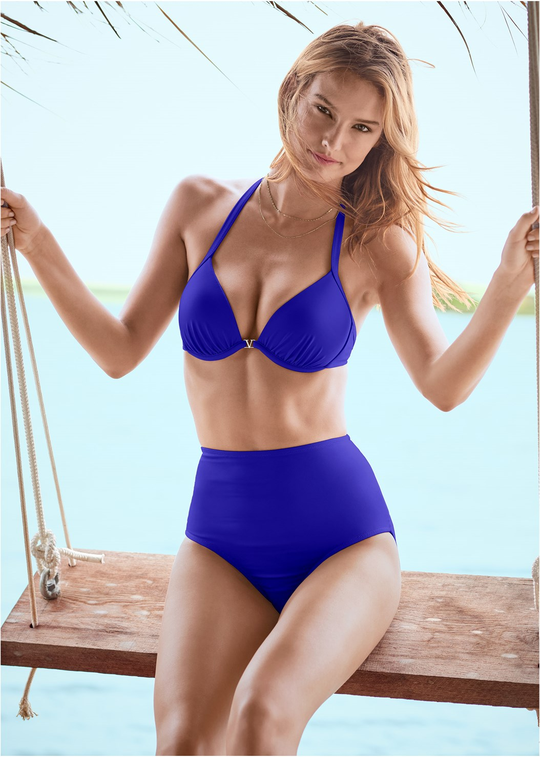 Venus Enhancer Halter Top,Scoop Front Classic Bikini Bottom ,Mid Rise Strappy Bottom,Off The Shoulder Cover-Up