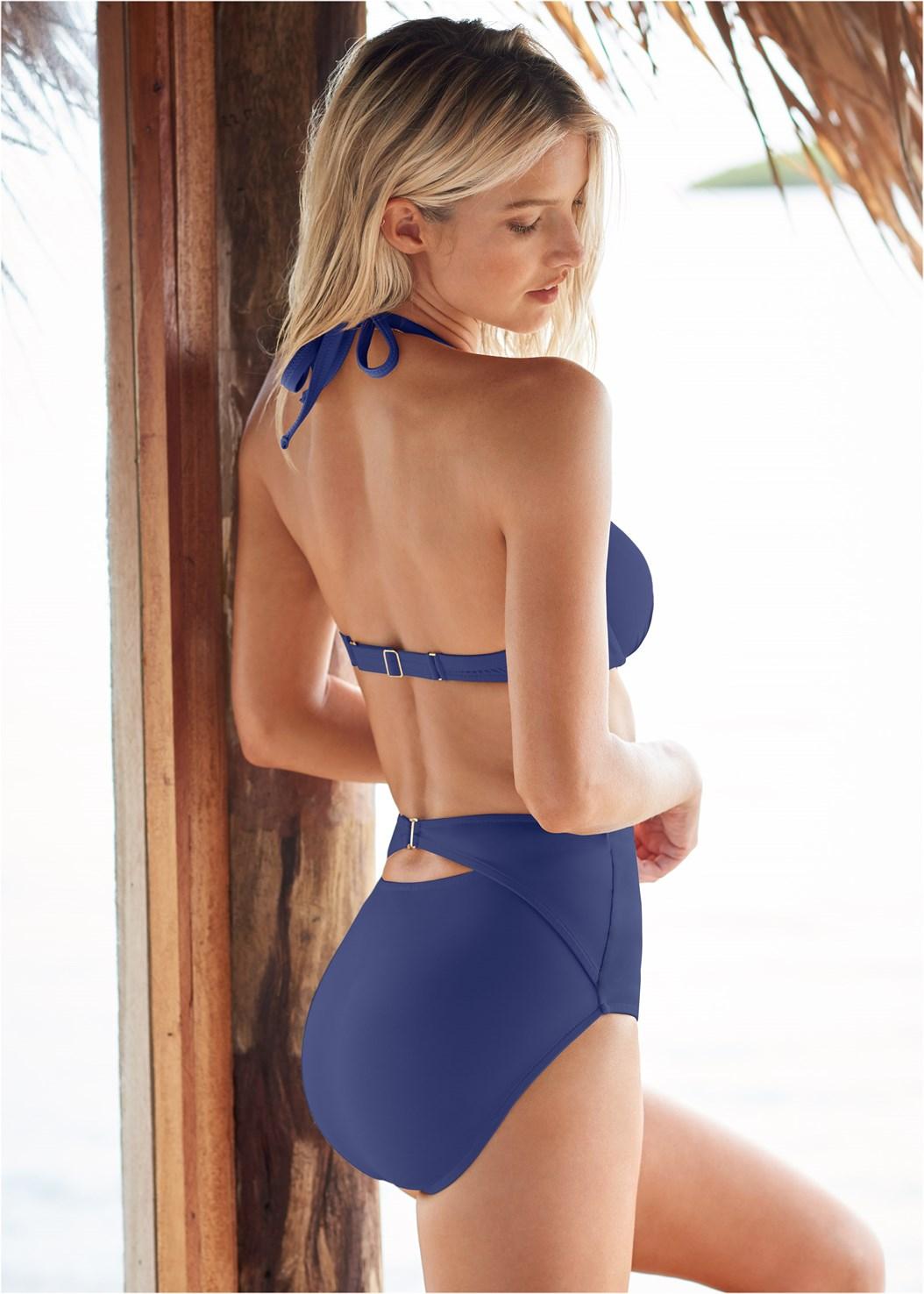 High Waist Keyhole Bottom,Venus Enhancer Halter Top,Lace Up Enhancer,Triangle String Bikini Top,Maxi Cover-Up Dress
