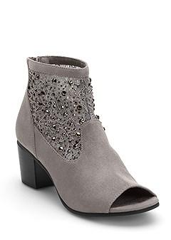 embellished peep toe bootie