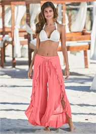 Front View Ruffled Flowy Cover-Up Pant