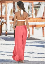 Back View Ruffled Flowy Cover-Up Pant