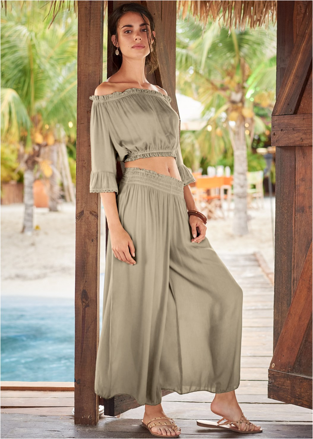 Off The Shoulder Cover-Up Top,Smocked Waist Cover-Up Pant
