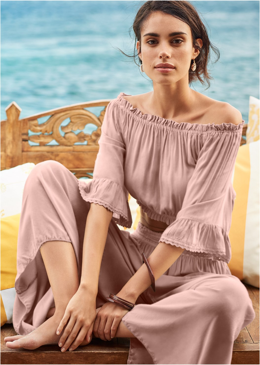 Smocked Waist Cover-Up Pant,Off The Shoulder Cover-Up Top