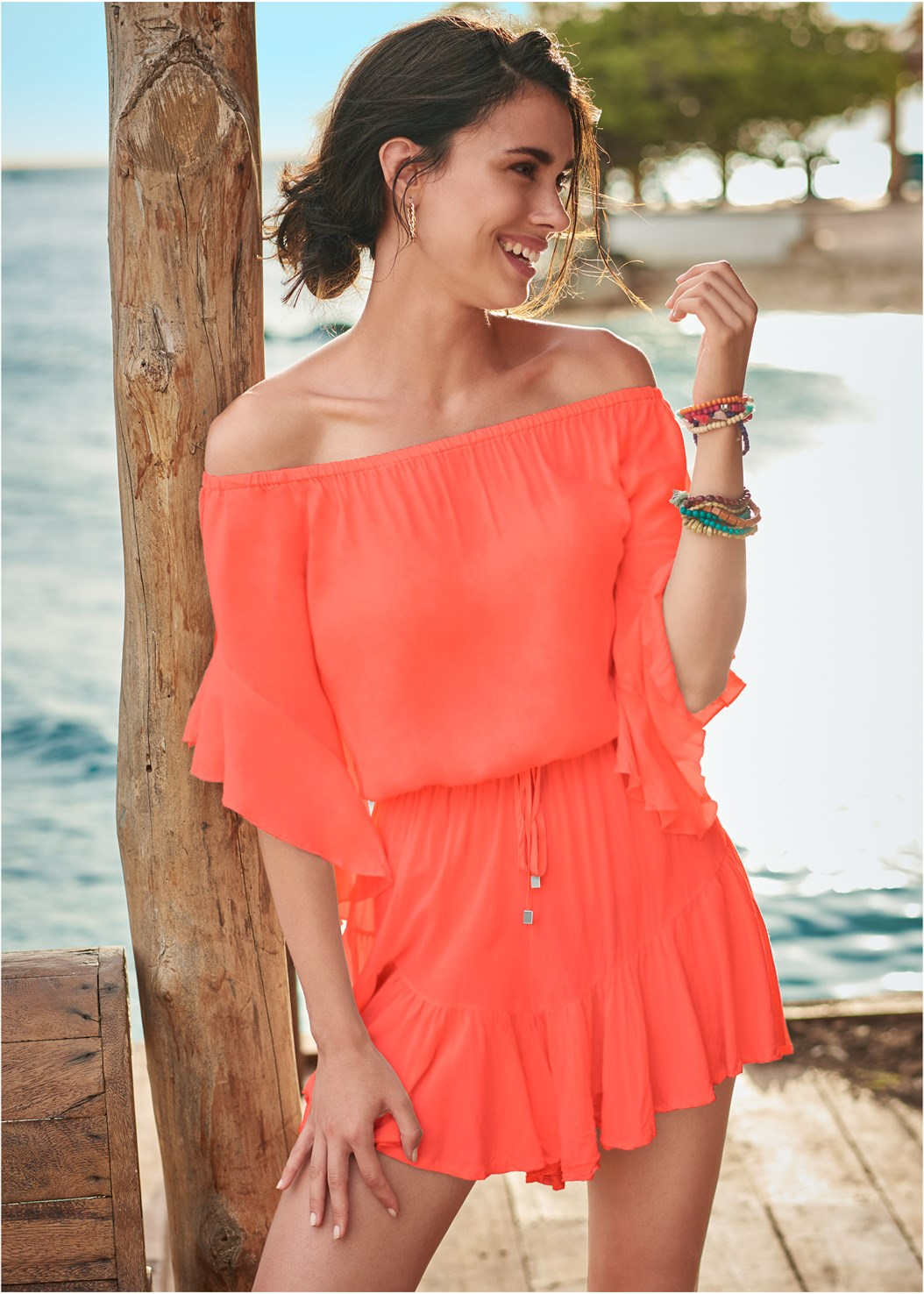 Flirty Romper Cover-Up,Zip Front Bikini Top,Mid Rise Bikini Bottom,Slenderizing One-Piece