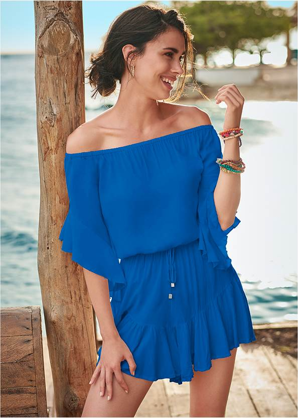 Flirty Romper Cover-Up,Applique Triangle Top,Wrapped Mid Rise Bottom