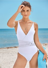 Front View V-Neck Ring One Piece