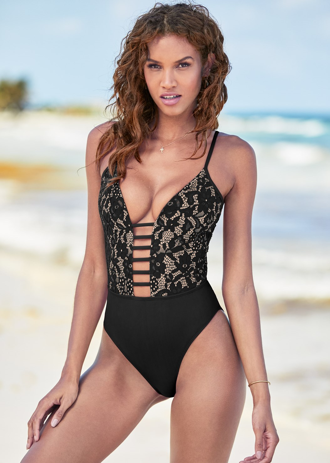 Lacy Plunge One-Piece,Lace Kimono Cover-Up