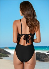 Back View Lacy Plunge One-Piece