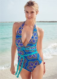 Front View Jamaica Tie One-Piece