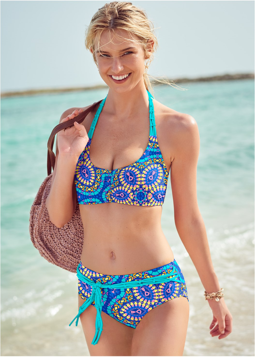 Jamaica Halter Top,Jamaica Belted Bottom,Jamaican Low Rise Bottom,Jamaica High Waist Bottom,Knotted Crochet Cover-Up