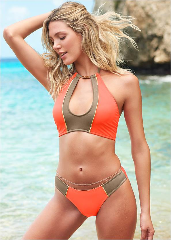 Color Block Keyhole Top,Underwire Halter Bikini Top,Mid Rise Bikini Bottom