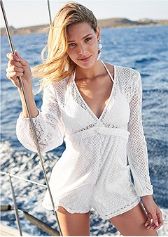 lace detail cover-up romper