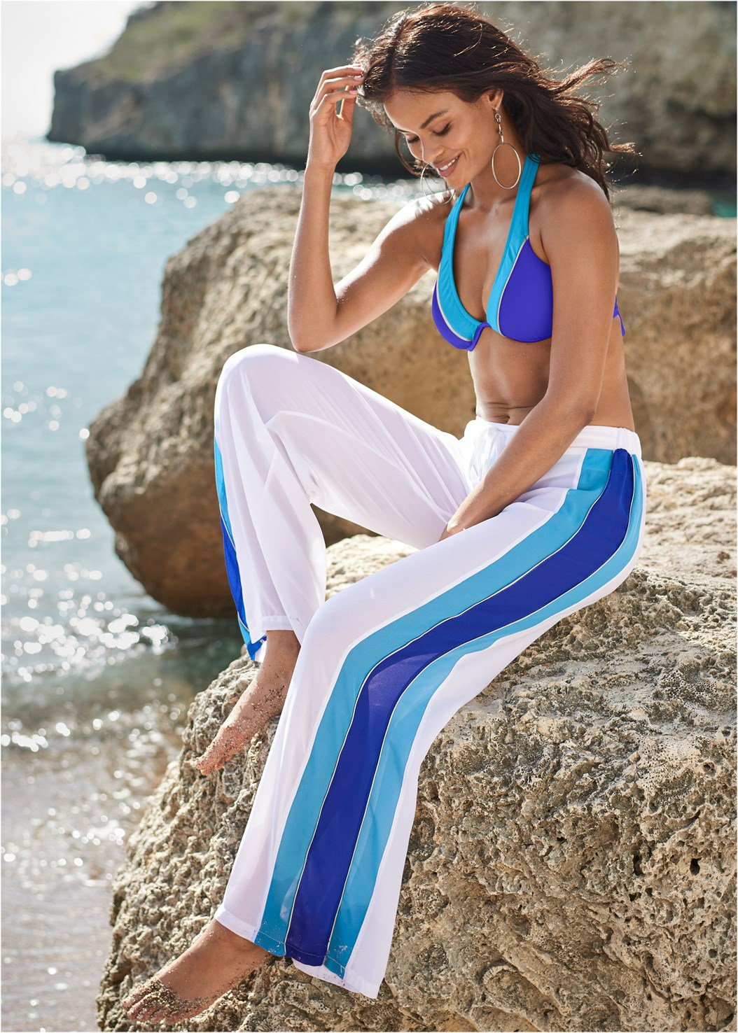 Side Stripe Cover-Up Pants,Mid Rise Bikini Bottom