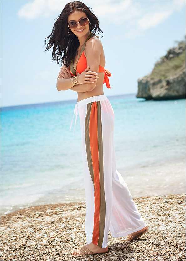 Side Stripe Cover-Up Pants,Underwire Halter Bikini Top,Mid Rise Bikini Bottom