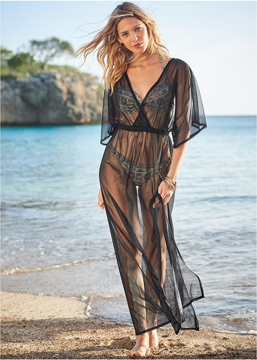 SHEER COVER-UP DRESS,PUSH UP BIKINI TOP,LOW RISE RINGED BOTTOM