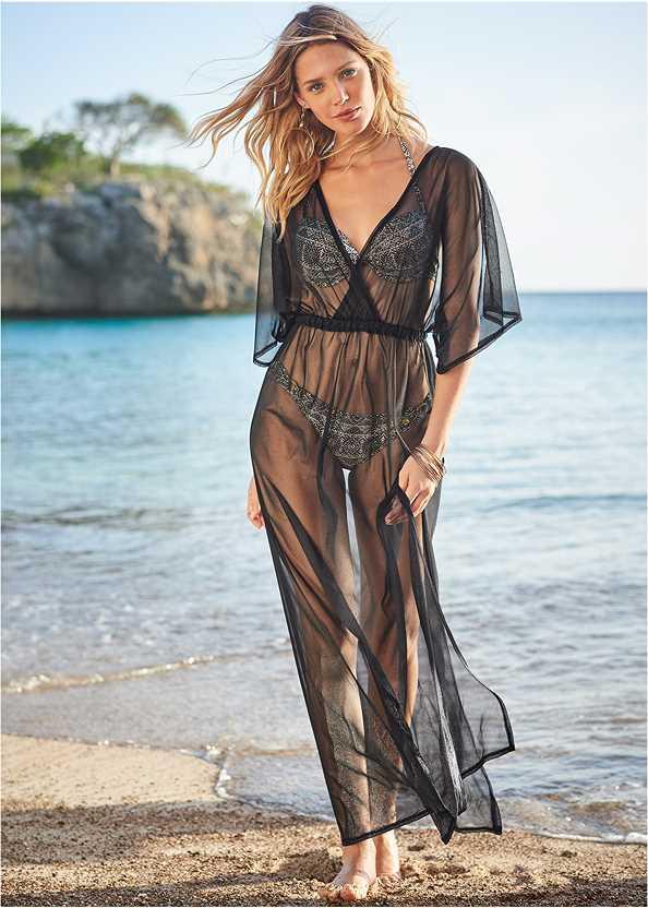 Sheer Cover-Up Dress,Push Up Bikini Top,Low Rise Ringed Bottom