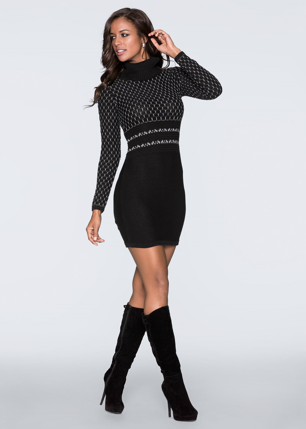 Turtleneck Sweater Dress,Seamless Unlined Bra,Heel Embellished Boot