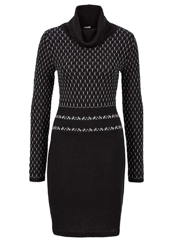 Turtleneck Sweater Dress,Heel Embellished Boot
