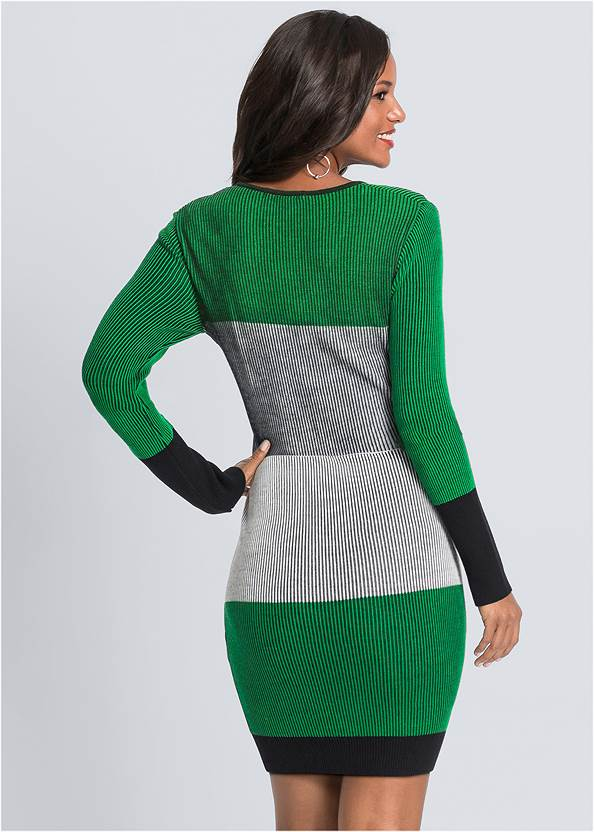 Full back view Color Block Sweater Dress