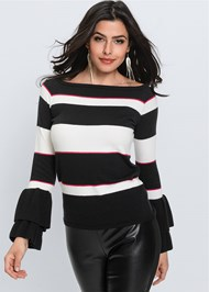 Cropped front view Striped Sweater