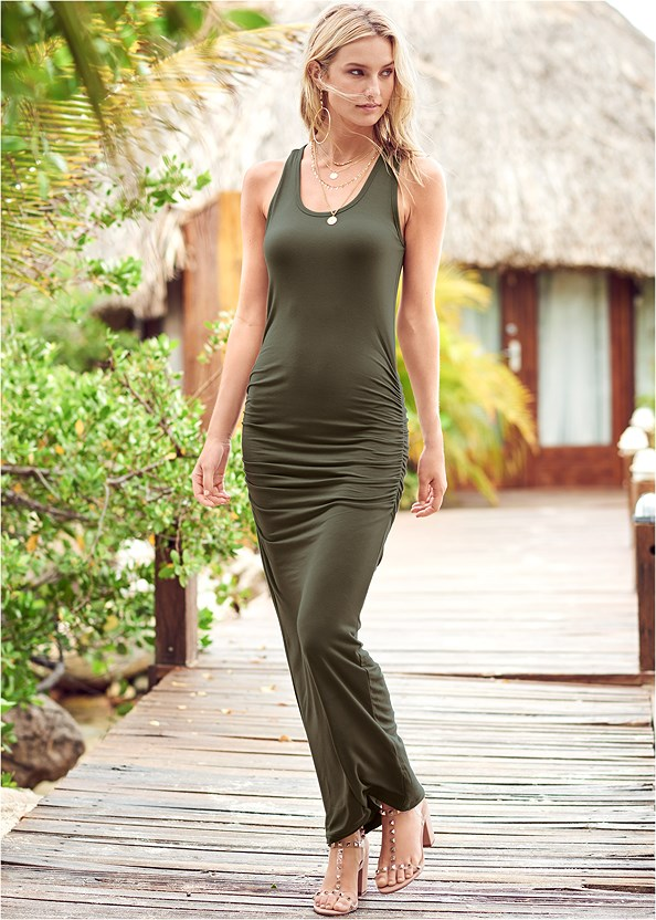 Ruched Tank Maxi Dress,Strap Solutions,Everyday You Strapless Bra,Transparent Studded Heels,Layered Long Necklace,Studded Flip Flops
