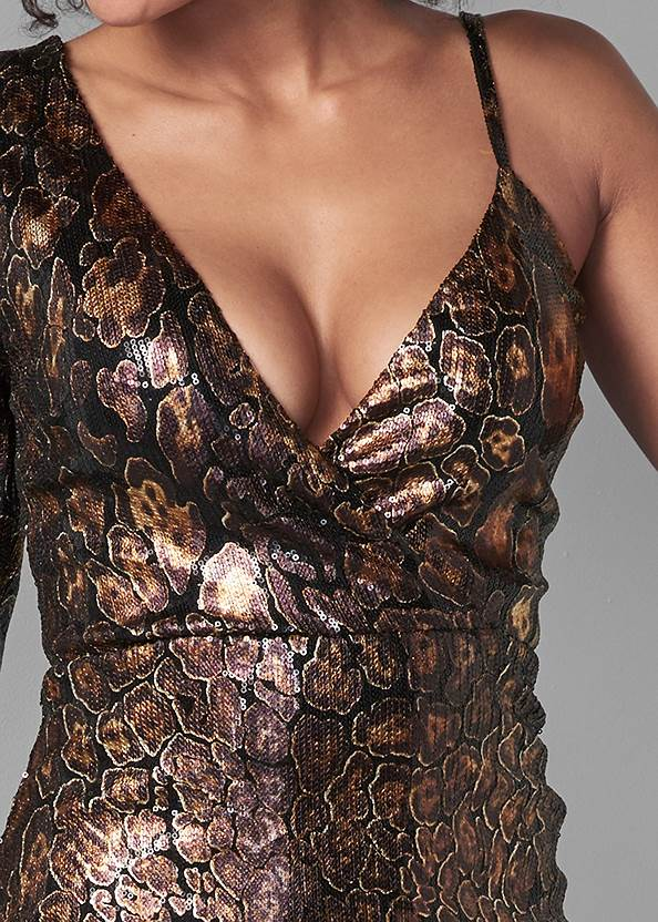 Alternate View Python Print Sequin Dress
