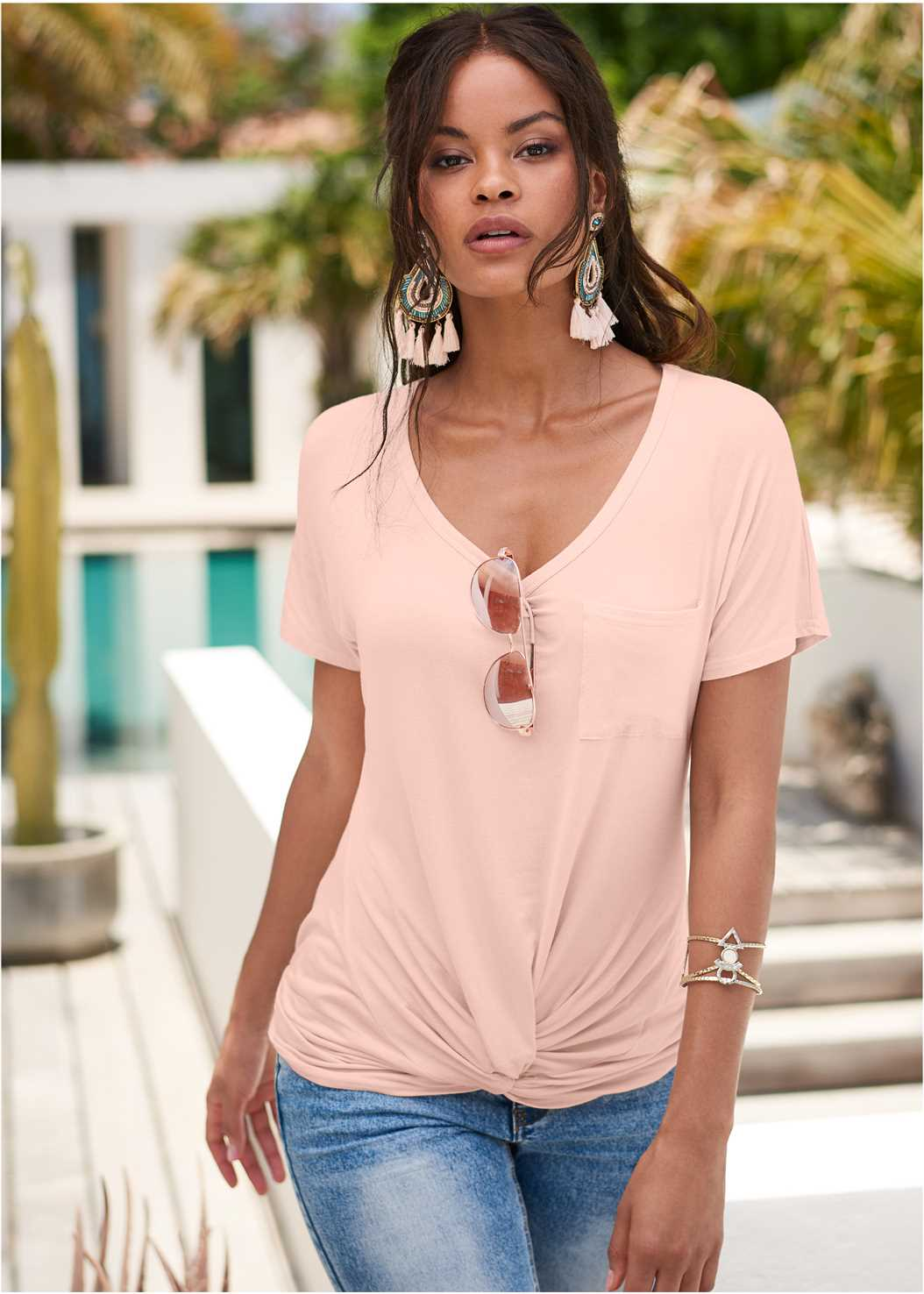 Twisted Knot Detail Tee,Mid Rise Color Skinny Jeans,Long Jean Shorts,Lucite Detail Print Heels,Pearl™ By Venus Strappy Plunge Bra
