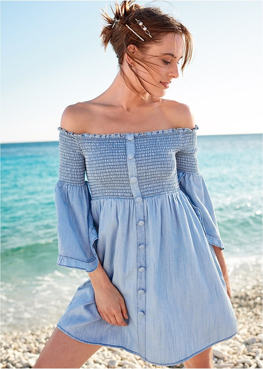 OFF SHOULDER CHAMBRAY DRESS,SEAMLESS UNDERWIRE BANDEAU,EMBELLISHED LOW WEDGES,SEQUIN AND STRAW TOTE