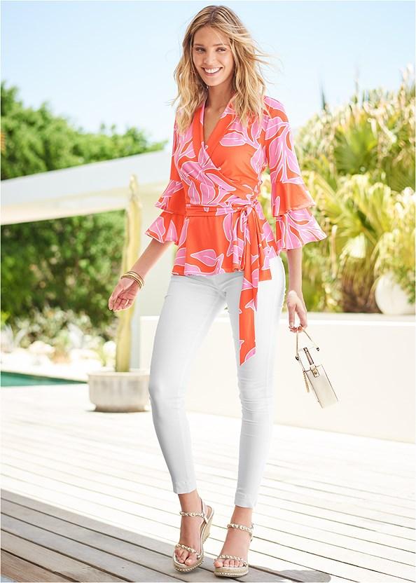 Floral Wrap Top,Mid Rise Slimming Stretch Jeggings,Push Up Bra Buy 2 For $40,Embellished Wedge,Color Block Hoop Earrings,Circle Ring Detail Handbag,Stud Detail Handbag