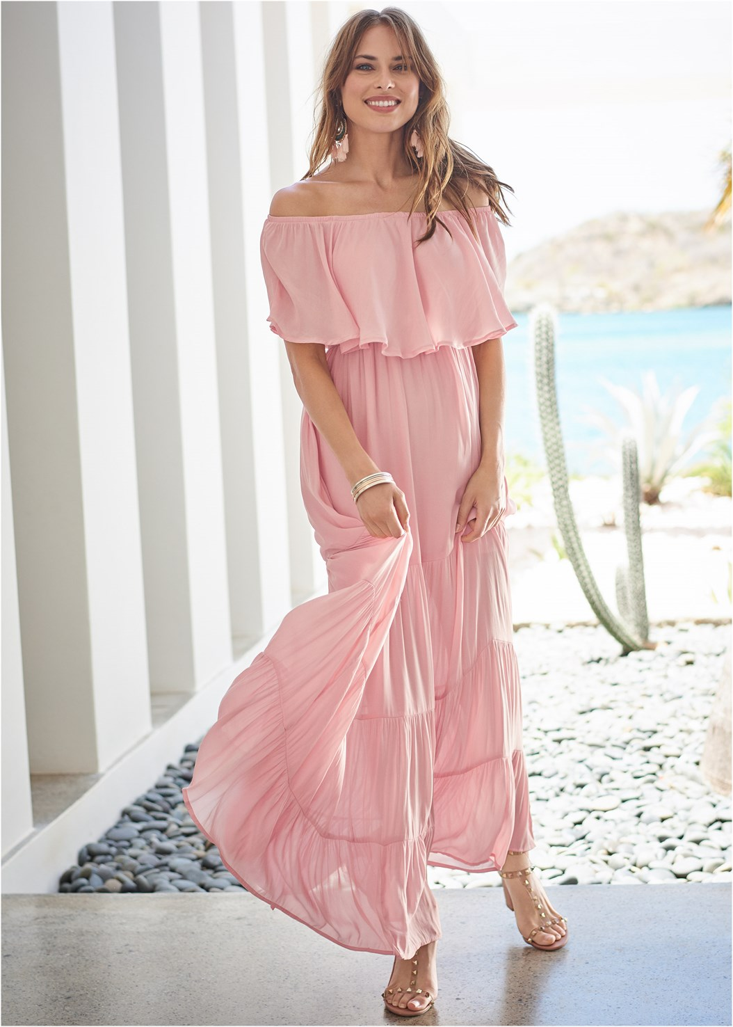 Tiered Maxi Dress,Everyday You Strapless Bra,Transparent Studded Heels,Studded Flip Flops,Chandelier Earrings