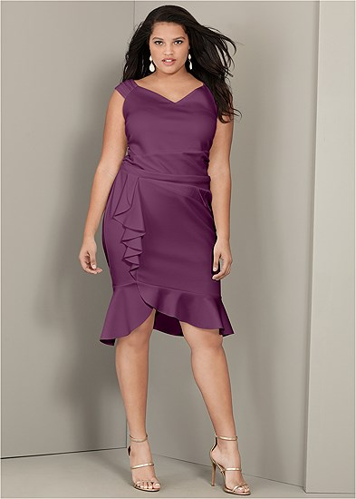 Plus Size Cap Sleeve Ruffle Detail Dress