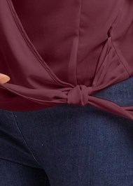 Alternate View Surplice Side Tie Blouse