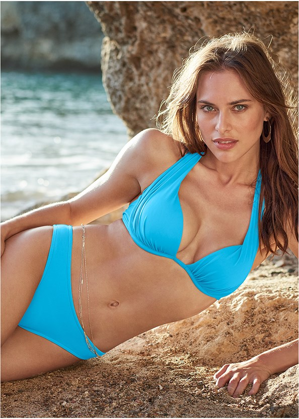 Low Rise Bikini Bottom,Enhancer Push Up Triangle Top,Off The Shoulder Cover-Up