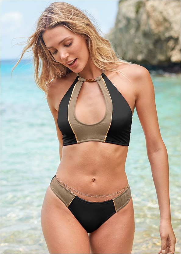Color Block Scoop Bottom,Color Block Keyhole Top,Underwire Halter Bikini Top,Color Block Triangle Top,Color Block Bandeau Top