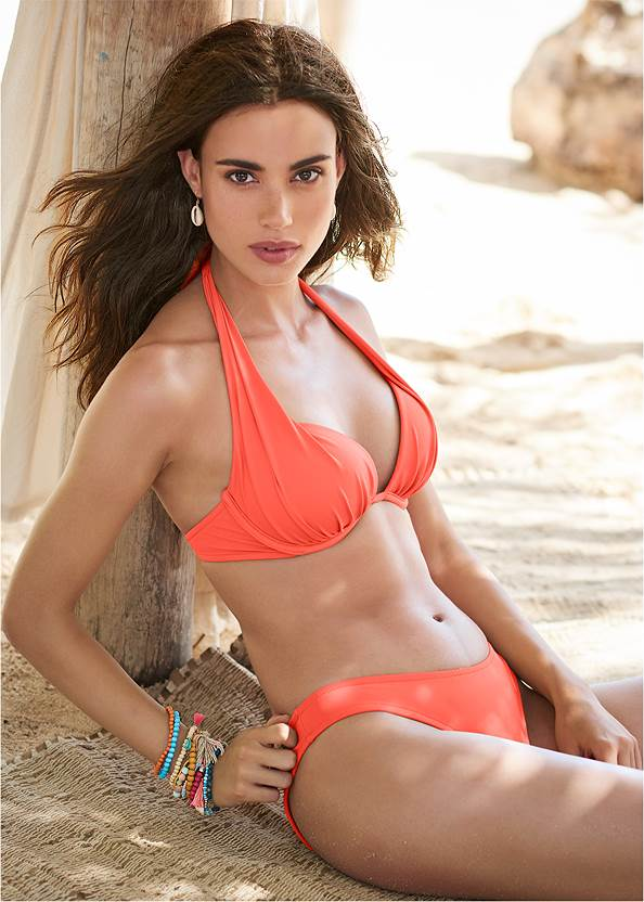 Marilyn Underwire Push Up Halter Top,Scoop Front Classic Bikini Bottom ,Low Rise Classic Bikini Bottom ,String Side Bikini Bottom,High Waist Moderate Bottom,Low Rise Bikini Bottom,Ruffle Cover-Up Dress,Studded Jelly Thong Sandals,Convertible Straw Tote Bag