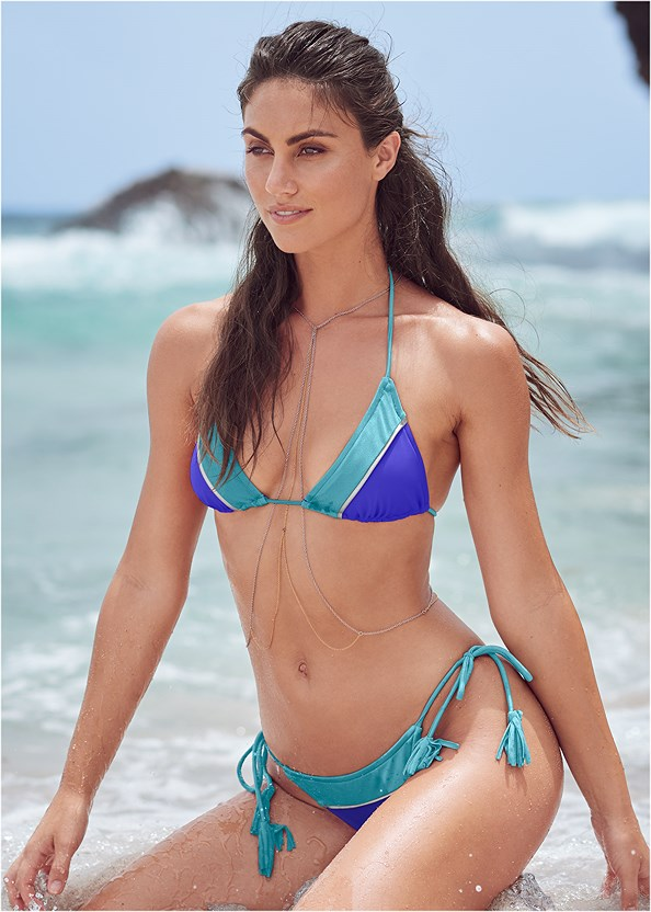 Color Block Triangle Top,Color Block Tie Side Bottom,Color Block Bandeau Top,Mid Rise Strappy Bottom,Mid Rise Bikini Bottom,Color Block Scoop Bottom,Off The Shoulder Cover-Up