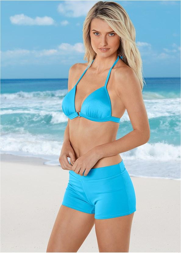 Enhancer Push Up Ring Halter Triangle Top ,Swim Short,Mid Rise Swim Skirt Bikini Bottom,Low Rise Classic Bikini Bottom ,Sheer Caftan Cover-Up