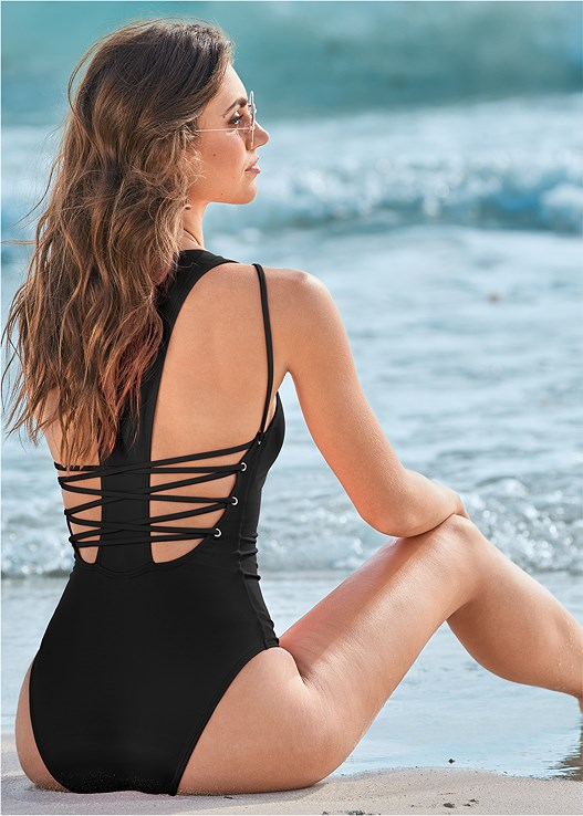 CUT OUT ONE-PIECE,BANDEAU MAXI DRESS COVER-UP