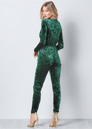 Back View Knot Detail Velvet Jumpsuit