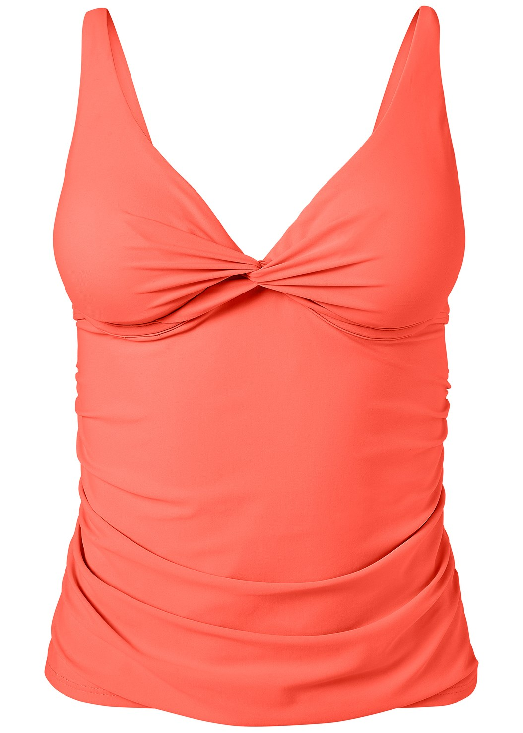 Underwire Twist Tankini,Mid Rise Swim Skirt Bikini Bottom,Gathered Neckline Dress