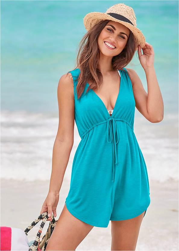 Deep V Cover-Up Beach Dress,Enhancer Triangle Top ,Scoop Front Classic Bikini Bottom ,Low Rise Classic Bikini Bottom ,Striped Straw Tote