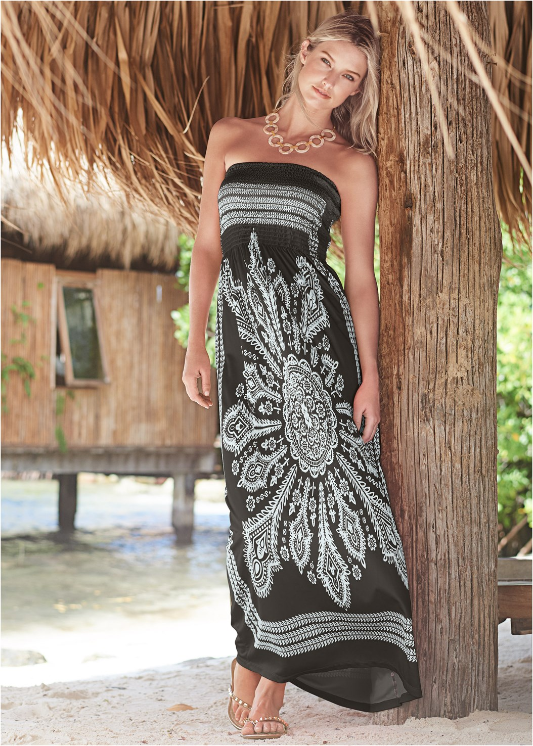 Bandeau Maxi Dress Cover-Up,Studded Flip Flops