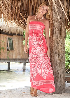 bandeau maxi dress cover-up