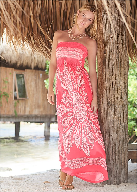 BANDEAU MAXI DRESS COVER-UP,STRAPPY BANDEAU TOP,SCOOP FRONT BIKINI BOTTOM,LONG LINK NECKLACE