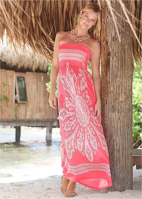 Bandeau Maxi Dress Cover-Up,Color Block Scoop Bottom,Embellished Low Wedges
