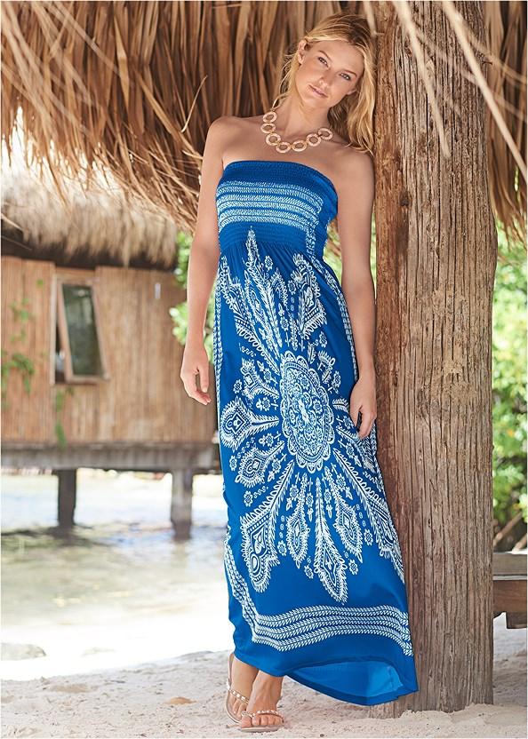 Bandeau Maxi Dress Cover-Up,Scoop Front Classic Bikini Bottom ,Studded Flip Flops,Long Link Necklace