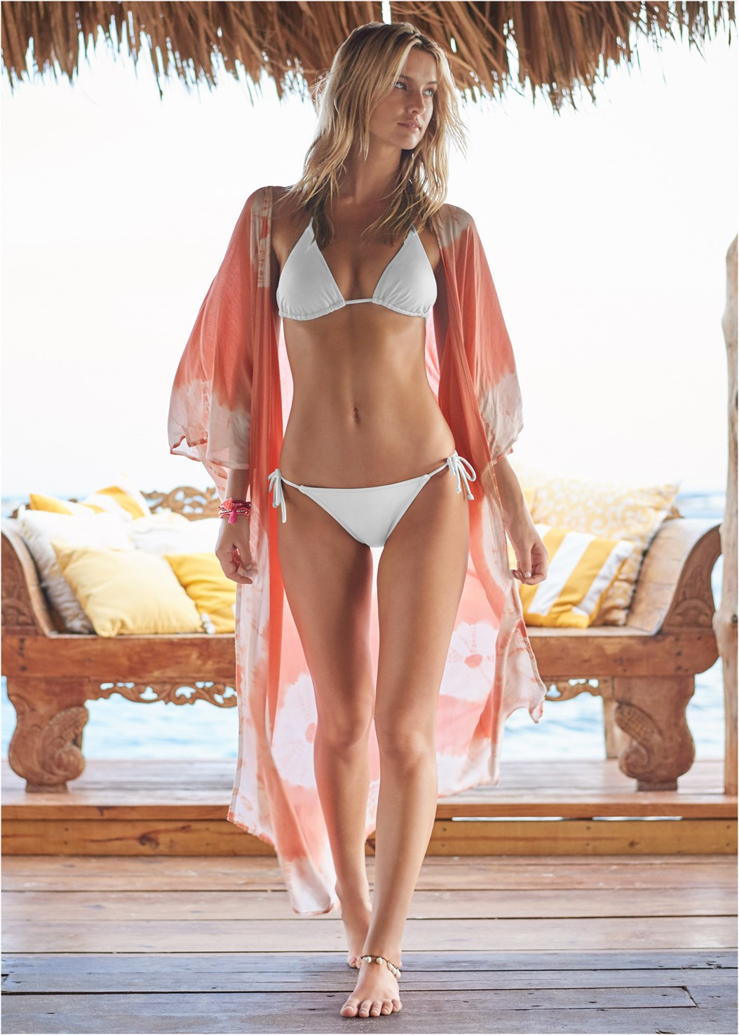 Boho Kimono,Triangle String Bikini Top,String Side Bikini Bottom