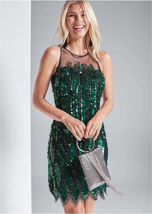 SEQUIN EMBELLISHED DRESS,EMBELLISHED STRAPPY HEEL